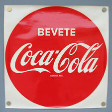 Bevete Coca Cola XXL Button Wasser Naß Transfer Aufkleber 1964 NOS Vintage 66cm