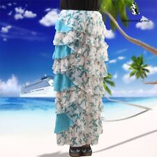SHARON TANG Modest Apparel Long  White&Blue Chiffon Floral Ruffle Layer Skirt M
