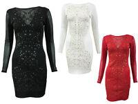 Ladies Womens Embossed Floral Print Mesh Slim Effect Bodycon Dress Size 8-14