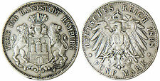 ALLEMAGNE  , HAMBURG  ,  FREE  CITY   ,  5  MARK  ARGENT  1898  J
