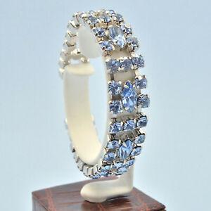 Vintage Bracelet 1950s Elegant Pale Blue Crystal Silvertone Bridal Jewellery