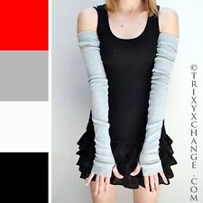 Extra Long Cotton Arm Warmers Gray Sleeves Sun Driving Covers Winter Warm O23