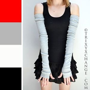 Extra Long Cotton Arm Warmers Gray Sleeves Sun Driving Covers Winter Warm Cozy