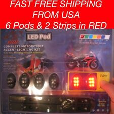 8 Pc RED LED UNDER GLOW Motorcycle LIGHT NEON Electro strip n Pod Kit - All 12V