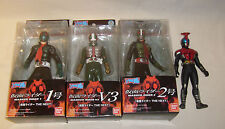 "4 BANDAI MASKED RIDER VINYL 6"" FIGURES 1 2 & V3 WITH BOXES LOOSE LOT FREE S/H"