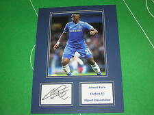 Samuel Eto'o Signed Chelsea FC Press Photograph Presentation Mount
