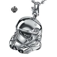 Silver Star Wars A New Hope EFX Replica Stormtrooper Helmet s steel necklace 24""