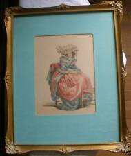 BEAUTIFUL WOMEN PORTRAIT HAND PAINTED PRINT FRAMED 1800'S