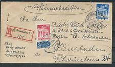 Alibes Sauberes Orts-Einschreiben Wiesbaden 30.9.50 MiF Mi.Nr. 85/88 Brief mit
