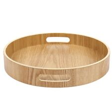 Round Serving Bamboo Wooden Tray for Dinner Trays Tea Bar Breakfast Food Co G8a6