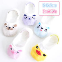 Women Casual Cute Cotton Boat Socks Non-Slip Invisible Low Cut No Show 5Pairs