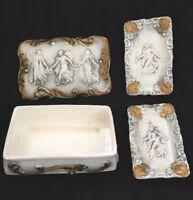 Vtg Royal Sealy Japan Cigarette Box With Lid +2 Ancient Dancers Design Ashtrays