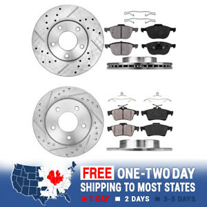 Front+Rear Drill Slot Brake Rotors And Ceramic Pads For 2006 - 2012 2013 Mazda 3