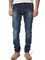 Nudie Herren Slim Fit Used Look Stretch Jeans Hose | Grim Tim Org. White Knee