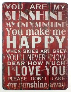 You Are My Sunshine, My Only Sunshine Vintage Retro Metal Wall Sign 30 x 20 cm