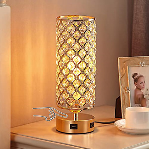 Touch Control USB Crystal Table Lamp, Aooshine Dimmable Gold Bedside Lamp with 3