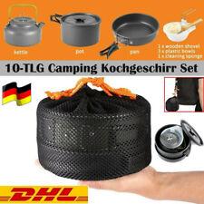 10tlg Camping Kochgeschirr Set Faltbare Topf und Pfanne Wasserkocher für Outdoor