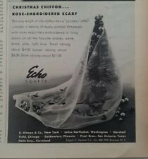 1959 womens Echo Christmas Rose embroidered chiffon scarf vintage fashion ad