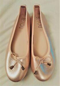 Women's Gold Bow Ballerina Ballet Flats Shoes Pumps Size UK 5 EU 38