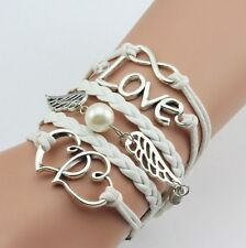 Hot New Style White Love Heart Pearl Jewelry Fashion Leather Cute Charm Bracelet