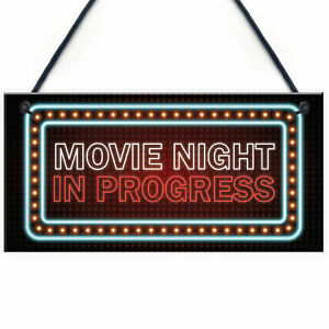 Novelty Cinema Room Sign NEON EFFECT Movie Night Plaque Home Decor Gift