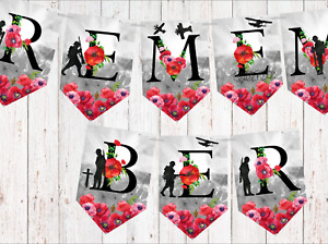 Remembrance Day Poppy 'REMEMBER' Armed Forces Bunting & Ribbon