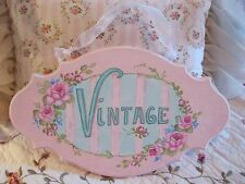 "Shabby Chic Hand Painted Roses - ""Vintage"" Plaque with Roses"