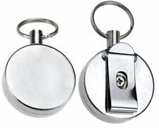 Pull Key Reel Extendable Retractable Wire Recoil Metal Chrome Id Keyring Holder