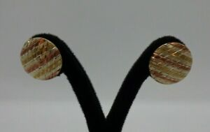9ct 3 Colour Gold Earrings Large Round Studs Very Nice Condition In Gift Box #73