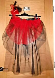 Black & Red Burlesque Bustle Style Skirt & Accessories