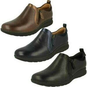 Clarks Ladies Unstructured Slip On Shoes - Un Adorn Zip