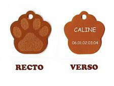 medaille gravee chien ou chat - modele petite patte de chat calinette - orange