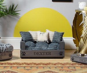 XS / SMALL PERSONALISED DOG BED ~ CAT BED ~ IN WOOD OR GREY PET BED