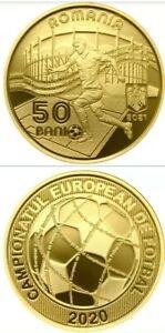 ROMANIA 50 bani 2021 coin 2020 EURO FOOTBALL CHAMPIONSHP ROMANIAN Rumänien PROOF