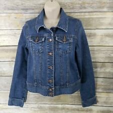 Old Navy Size M Denim Jean Jacket Distressed Cropped Fitted Staple Basic Women