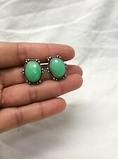 Stunning Stephen Dweck Carve Oval Green Stone Sterling Clip On Earrings