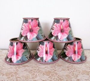 5 Clip-On Miniature Lamp Shades for Chandelier Candlestick Sconces Hibiscus