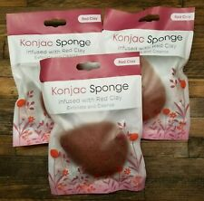 Konjac Sponges Exfoliate and Cleanse with Red Clay 3 sponge Trial