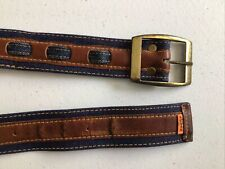 "New listing Levis Denim And Leather Belt Orange Tab 32"" Vintage"