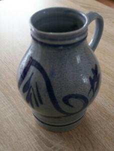 Apfelwein Krug Bembel blau bemalt mit Henkel 19 cm hoch