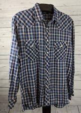 Wrangler Pearl Snap Western Shirt Men's Size XL Blue Plaid (w1)