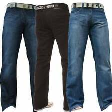 Mens New Enzo Designer Regular Bootcut Denim Dark Black Jeans Free Belt BNWT