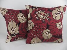 """Romo Manderley Fabric Cushion Covers 17"""" Red Wine Floral Pillow Linen"""