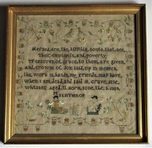 English Needlework Sampler by Jane Whitaker, Aged 11, 1820, Lake District