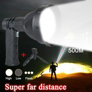 LED Spotlight Handheld USB Rechargeable Camping Hunting Flashlight Torch Lamp UK