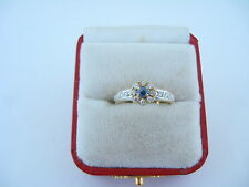 Vintage Gorgeous Ladies Ring Cubic Zirconia & Sapphire 14kt Yellow Gold Size 8