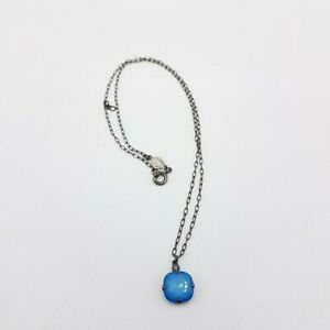 Catherine Popesco Silver Tone & Blue Glass Rhinestone Pendant Necklace JM005