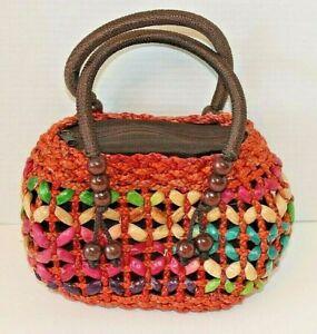 Raffia Straw Beaded Vintage Purse Lines Multi Colored Handbag