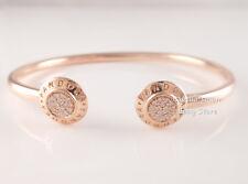 Genuine PANDORA Signature OPEN Bangle ROSE GOLD Plated Bracelet 580528CZ PICK Sz