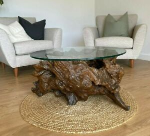 BEAUTIFUL COFFEE TABLE DRIFTWOOD BOGWOOD FOSSILISED TREE ROOT CIRCULAR GLASS